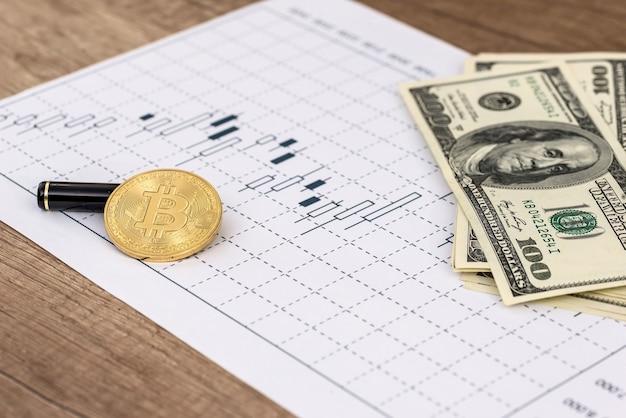 机の上のドル、ビットコイン、ビジネスグラフ