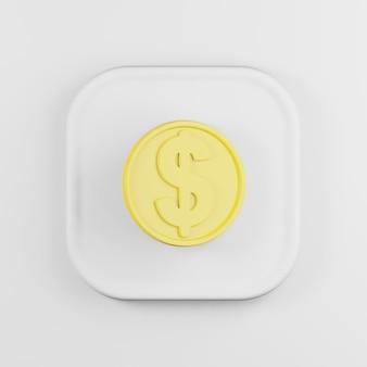 Доллар монета желтый значок в мультяшном стиле.