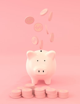 Dollar coins falling over pink piggy bank on pink color, saving money concept with 3d rendering