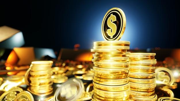Долларовые монеты в окружении золотых слитков