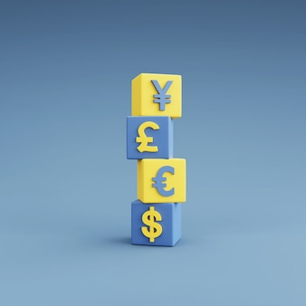 Dollar, euro, pound and yen currency symbols