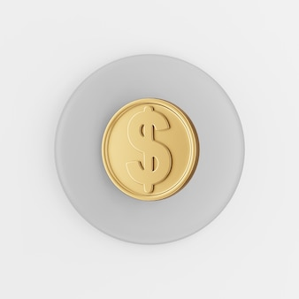 Dollar gold coin icon in cartoon style. 3d rendering gray round button key, interface ui ux element.