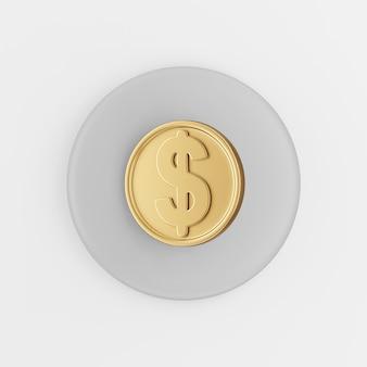 Иконка доллар золотая монета в мультяшном стиле. 3d-рендеринг серой круглой кнопки, элемент интерфейса ui ux.