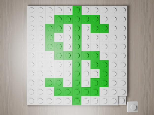 Значок доллара из блоков зеленый символ доллара сша из строительных блоков 3d визуализации