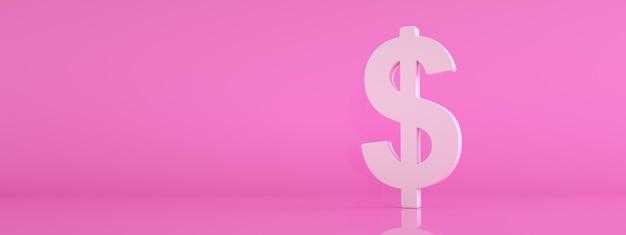분홍색 배경, 3d 렌더링, 파노라마 모형 위에 달러 아이콘
