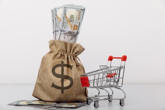 Доллар деньги мешок и корзина, изолированные на белом фоне концепции кредитов и микрозаймов