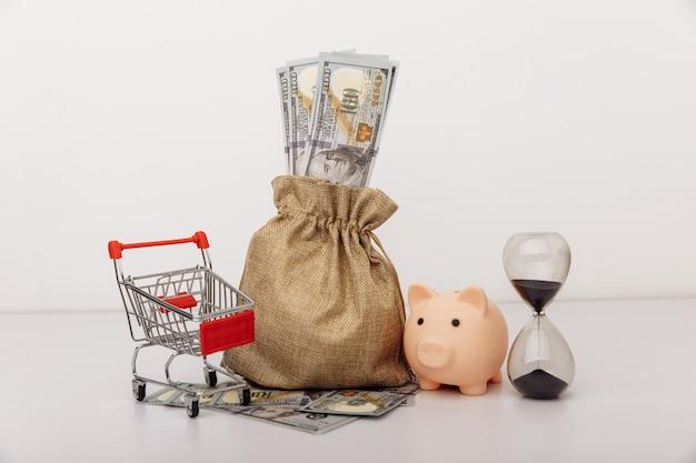 Сумка для долларовых денег ohurglass и тележка для покупок