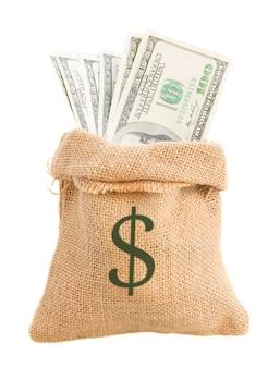 Dollar money in sack bag isolated