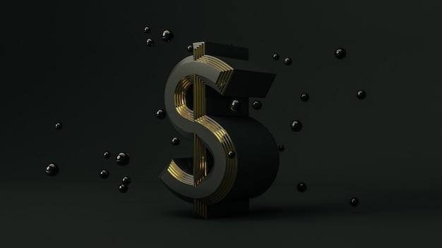 Символ денег доллар на черном