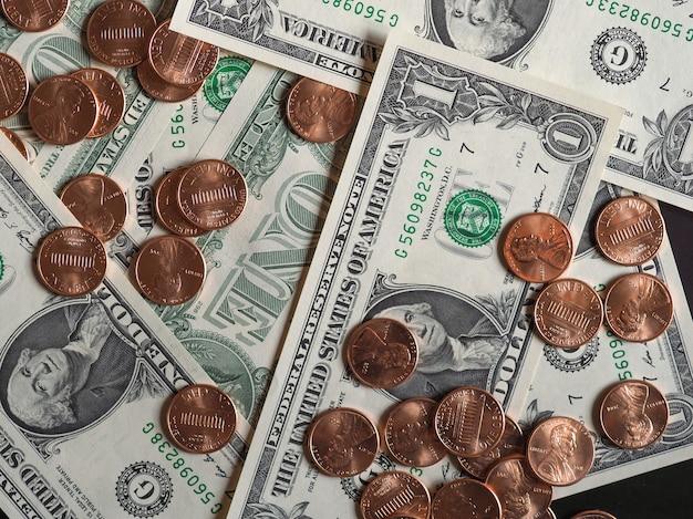 달러 지폐와 동전, 미국