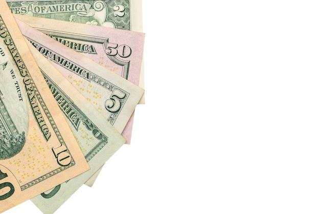 裏側にドル紙幣、白いコピースペースの背景