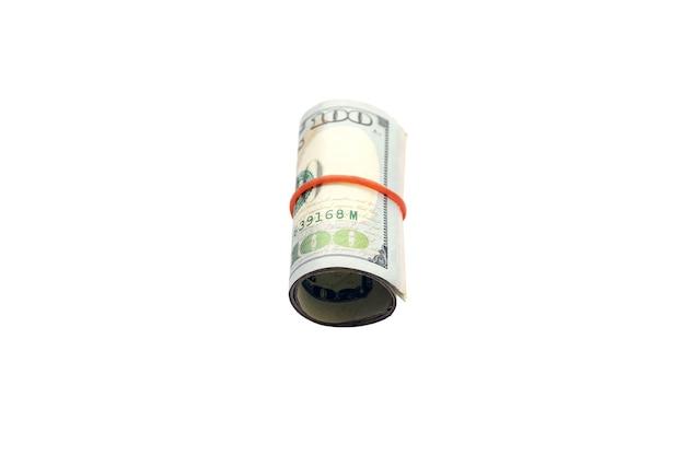 Доллар катится по кругу, изолированному на белом
