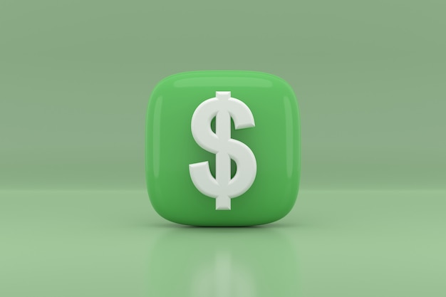 Dollar sign icon design. 3d rendering.