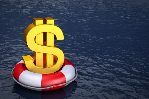 A dollar sign on the lifebuoy. 3d rendering.