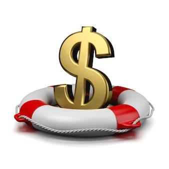 Dollar sign on a lifebuoy