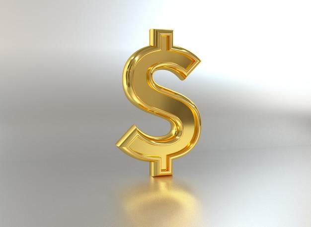 Dollar sign metal coin 3d