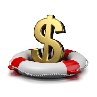 Знак доллара на спасательном круге