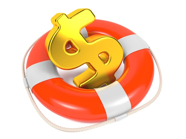 Dollar sign in red lifebuoy. business background isolated on white.