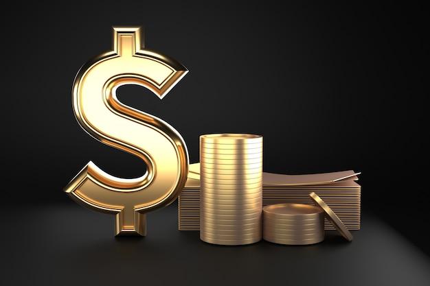 Знак доллара с гигантскими реалистичными золотыми монетами и деньгами