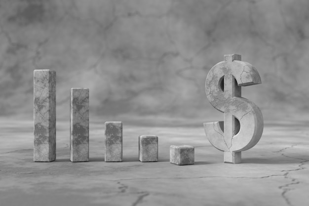 Dollar sign with the low exchange rates concept. 3d rendering.