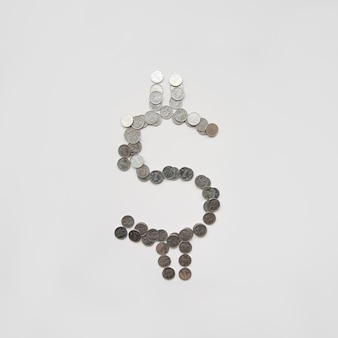 Dollar symbol made with coins