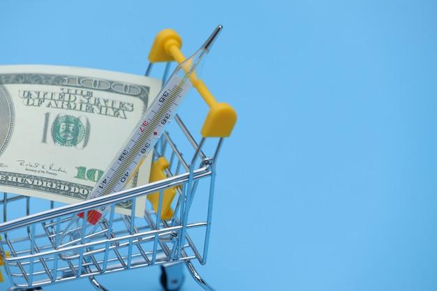 Доллар банкноты и термометр в корзине на покупки на синем