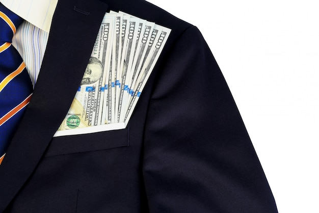 Dollars banknotes in the suit pocket for businessman. business finance concept.
