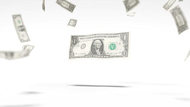 Доллары падают в воздухе на белом фоне. 3d иллюстрация