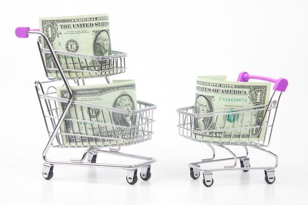 슈퍼마켓 바구니에 달러. 음식과 상품 구매. 판매를위한 사업. 구매 저장