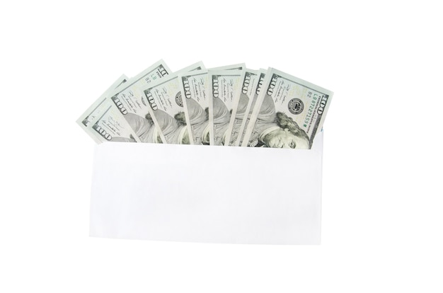 白の封筒のドル