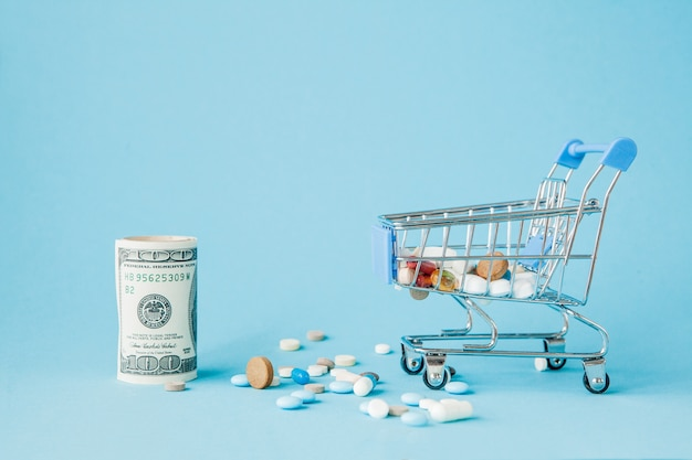 Dollars, pills and shopping cart on a blue background