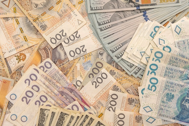 Dollars and polish zloty pln as business finance background concept