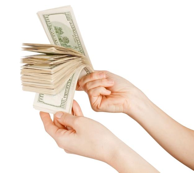 Dollars on white isolated