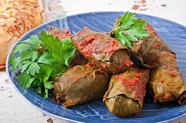 Dolma, stuffed grape leaves, turkish and greek cuisine