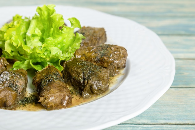 Dolma, stuffed grape leaves with rice and meat