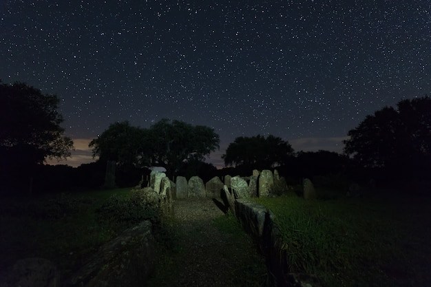 Dolmen of the great oak. night landscape with ancient prehistoric dolmen.