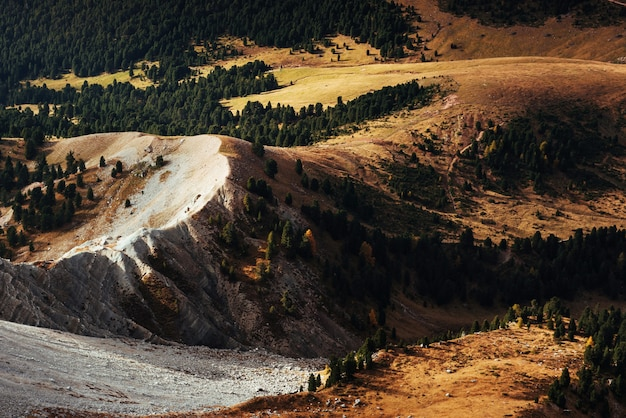 Dolomites hills. view from the top at mountain with trees partially lit by the sun.