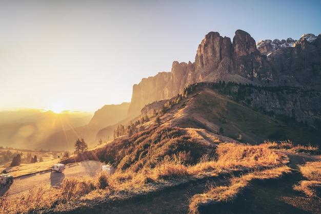 Dolomites, italy landscape at passo gardena