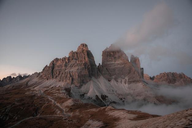 Dolomites mountain range during sunset, italy