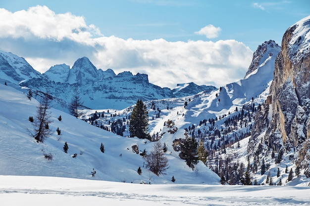 Dolomites mountains covered in snow