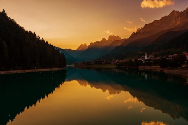 Dolomites sunset in the auronzo di cadore
