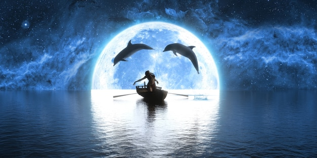 Dolphins jumping over a boat with a dancing woman on the background of the moon, 3d illustration