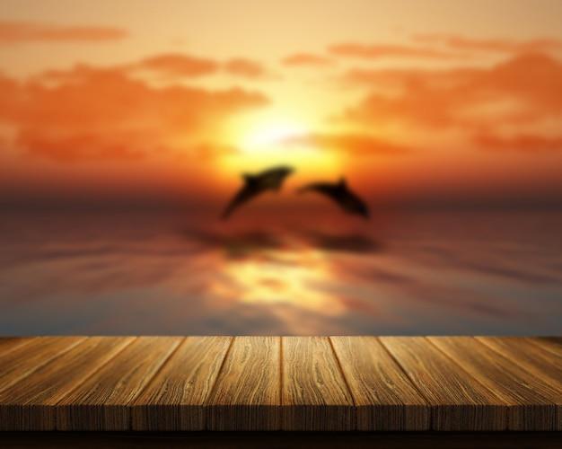 3d визуализации деревянный стол с видом на море с дельфинами, прыжки