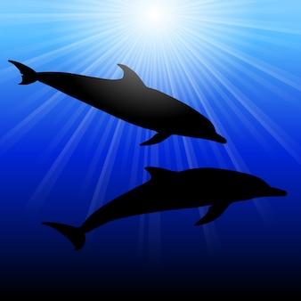 Dolphins in  sea on sunburst background, illustration