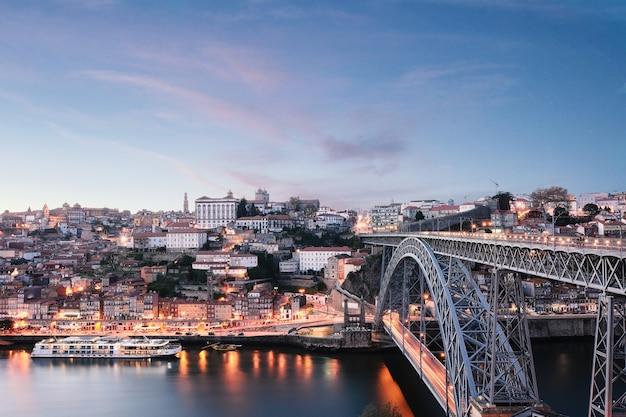 Dom luis bridge and douro river, portugal.