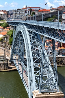 Dom luise i bridge at the douro river, city porto of portugal