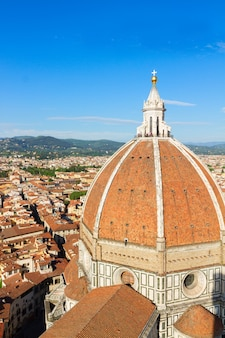 Dome of cathedral church santa maria del fiore over city, florence, italy