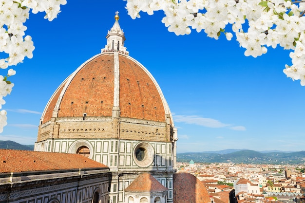 Dome of cathedral church santa maria del fiore close up at spring, florence, italy