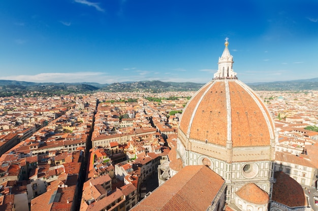 Dome of cathedral church santa maria del fiore over old town, florence, italy