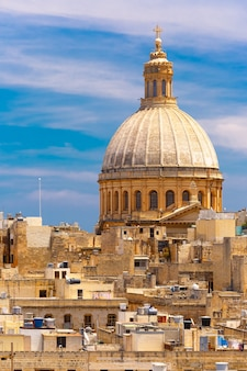 Dome of churche of our lady of mount carmel, valletta, capital city of malta
